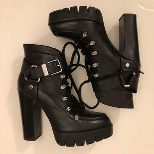 ZARA Leather high heel booties